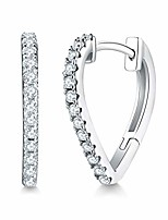 cheap -Silver Hoops Earrings for Women, Silver Heart Hoop Earrings, 15mm Small Sleeper Hoop Earrings, Silver Huggie Hinged Hoop Earring with Cubic Zirconia, Perfect as Birthday Gift