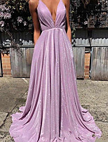cheap -A-Line Beautiful Back Sexy Wedding Guest Formal Evening Dress V Neck Sleeveless Sweep / Brush Train Sequined with Pleats 2021