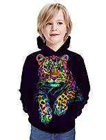 cheap -Kids Boys' Hoodie & Sweatshirt Tiger Graphic 3D Animal Print Long Sleeve Active Rainbow