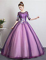 cheap -Ball Gown Elegant Floral Prom Formal Evening Dress Illusion Neck Half Sleeve Floor Length Tulle with Pleats Pearls Appliques 2021