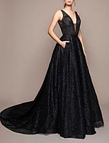 cheap -A-Line Beautiful Back Sexy Engagement Formal Evening Dress V Neck Sleeveless Court Train Sequined with Sequin 2020