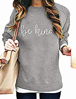 cheap -Women's Sweatshirts Pullover Crew Neck Long Sleeve Tops Jumpers Blouse (Grey, L)