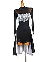 cheap -Latin Dance Dress Tassel Paillette Women's Training Performance Long Sleeve Natural Chinlon Satin Tulle