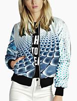 cheap -Women's 3D Print Print Active Spring &  Fall Jacket Regular Daily Long Sleeve Polyster Coat Tops Blue