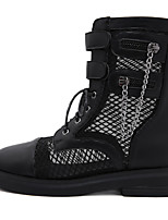 cheap -Women's Boots Block Heel Round Toe Mid Calf Boots Daily Walking Shoes PU Lace-up Solid Colored Almond Black / Mid-Calf Boots