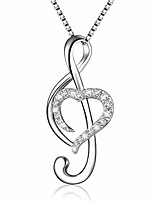 cheap -silver music note love heart necklace pendant jewelry gifts for women daughter girlfriend sister