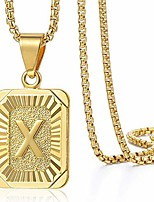 cheap -Initial Letter Pendant Necklace Mens Womens Capital Letter Yellow Gold Plated A Z Stainless Steel Box Chain 22inch