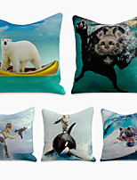 cheap -Cushion Cover 5PC Linen Soft Decorative Square Throw Pillow Cover Cushion Case Pillowcase for Sofa Bedroom 45 x 45 cm (18 x 18 Inch) Superior Quality Machine Washable Crazy Animals