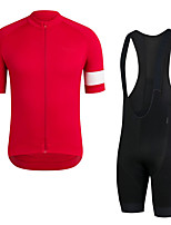 cheap -Men's Short Sleeve Cycling Jersey with Bib Shorts Elastane Red Bike Sports Clothing Apparel