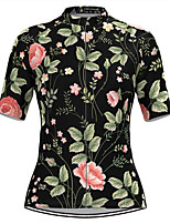cheap -Women's Short Sleeve Cycling Jersey Black Floral Botanical Bike Top Mountain Bike MTB Road Bike Cycling Breathable Quick Dry Sports Clothing Apparel / Stretchy / Athleisure