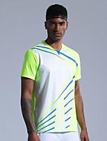 cheap -Men's Tennis Badminton Table Tennis Tee Tshirt Short Sleeve Breathable Quick Dry Moisture Wicking Sports Outdoor Autumn / Fall Spring Summer Green / High Elasticity