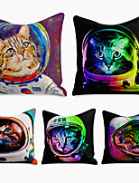 cheap -Cushion Cover 5PC Linen Soft Decorative Square Throw Pillow Cover Cushion Case Pillowcase for Sofa Bedroom 45 x 45 cm (18 x 18 Inch) Superior Quality Machine Washable Animal Cat Spacesuit