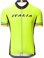 cheap -Men's Short Sleeve Cycling Jersey Yellow Bike Top Mountain Bike MTB Road Bike Cycling Breathable Sports Clothing Apparel / Stretchy / Athletic