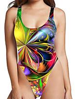 cheap -Women's New Fashion Sexy Monokini Swimsuit Color Block Paisley Tummy Control Print Bodysuit Normal Strap Swimwear Bathing Suits Rainbow / One Piece / Party / 3D