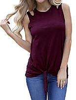 cheap -Womens Summer Plain Cut Off Shoulder Crew Neck Tees Shirt Cute Tie Front Tank Tops Wine Red