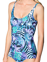 cheap -Women's New Fashion Lady Monokini Swimsuit Floral Tummy Control Open Back Slim Bodysuit Normal Strap Swimwear Bathing Suits Blue / One Piece / Party / Print