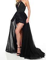 cheap -A-Line Beautiful Back Sexy Engagement Formal Evening Dress Halter Neck Sleeveless Sweep / Brush Train Tulle with Pleats Sequin Split 2020
