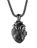 cheap -Mens Stainless Steel Anatomical Heart Necklace Openable Organ Pendant Urn for Couples Black Small Style