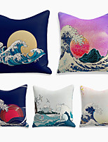 cheap -cushion cover 5pc linen soft decorative square throw pillow cover cushion case pillowcase for sofa bedroom 45 x 45 cm (18 x 18 inch) superior quality machine washable ukiyo-e waves