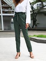cheap -Women's Stylish Work Business Pants Simple Full Length Drawstring Green