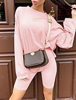 cheap -Women's Plain Casual / Daily Two Piece Set T shirt Pant Patchwork Tops