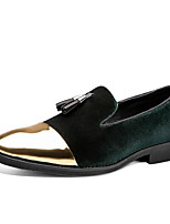 cheap -Men's Loafers & Slip-Ons Suede Shoes Dress Shoes Comfort Loafers Casual British Daily Party & Evening PU Non-slipping Wear Proof Green Black Brown Color Block Fall Spring