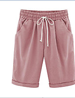 cheap -Women's Sporty Breathable Comfort Outdoor Daily Chinos Shorts Pants Solid Colored Knee Length Drawstring White Black Blushing Pink Khaki Light Blue