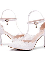 cheap -Women's Wedding Shoes Stiletto Heel Pointed Toe Vintage Sexy Minimalism Wedding Party & Evening PU Pearl Buckle Lace Solid Colored Color Block White
