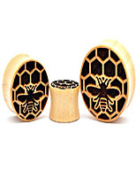 "cheap -Laser Engraved Crocodile Wood Honeycomb Plugs (PW-265) (7/8"" (22mm))"