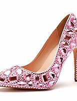 cheap -Women's Wedding Shoes Stiletto Heel Pointed Toe Vintage Sexy Minimalism Wedding Party & Evening PU Crystal Pearl Sparkling Glitter Solid Colored Color Block White Purple Fuchsia