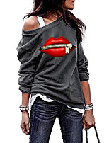 cheap -Women's Casual Loose Pullover Tops Blouse Red Lip with Zipper Print Long Sleeve One Shoulder Sweatshirt