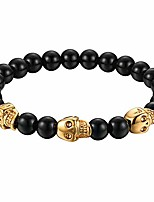 cheap -Stainless SteelSkull Bracelet,  Mens Skull Bracelet 8mm Buddha Black Beads Stretch Gothic Jewelry (Gold)