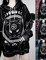 cheap -Inspired by Gothic Cat Costume Hoodie Polyester / Cotton Blend Cat Printing Hoodie For Men's