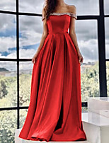 cheap -A-Line Minimalist Sexy Wedding Guest Formal Evening Dress Strapless Sleeveless Sweep / Brush Train Satin with Pleats 2020