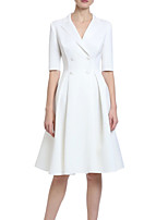 cheap -A-Line Minimalist Elegant Engagement Cocktail Party Dress V Neck Half Sleeve Knee Length Stretch Fabric with Pleats 2021