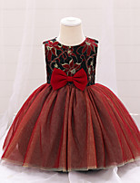 cheap -Kids Girls' Vintage Sweet Jacquard Bow Sleeveless Knee-length Dress Red
