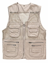 cheap -Men's Hiking Vest / Gilet Fishing Vest Military Tactical Vest Sleeveless V Neck Vest / Gilet Jacket Top Outdoor Quick Dry Lightweight Breathable Sweat wicking Autumn / Fall Spring Summer Polyester