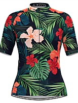 cheap -Women's Short Sleeve Cycling Jersey Green Floral Botanical Bike Top Mountain Bike MTB Road Bike Cycling Breathable Quick Dry Sports Clothing Apparel / Stretchy / Athleisure