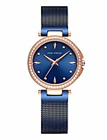 cheap -Women's Simple Blue Mesh Strap Quartz Watches Luxury Ultra Thin Dress Wristwatch for Lady Woman