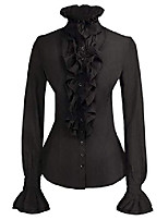 cheap -Women Victorian Gothic Lotus Ruffle Shirts Blouse Stand-up Collar Black 2XL