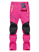 cheap -Women's Pants Winter Snow Skiing Softshell Pants Reinforced Knees, Rose red, 32