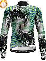 cheap -21Grams Men's Long Sleeve Cycling Jersey Winter Fleece Polyester Blue Green Bike Jersey Top Mountain Bike MTB Road Bike Cycling Fleece Lining Warm Quick Dry Sports Clothing Apparel / Stretchy