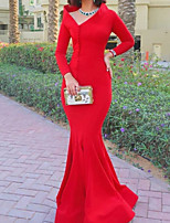 cheap -Mermaid / Trumpet Minimalist Elegant Wedding Guest Formal Evening Dress V Neck Long Sleeve Floor Length Stretch Satin with Buttons 2020