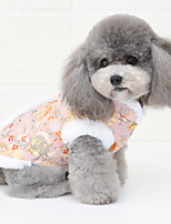 cheap -Dog Cat Coat cheongsam Dog clothes Flower Fashion Chinoiserie Cute Casual / Daily Spring Festival Winter Dog Clothes Puppy Clothes Dog Outfits Breathable Red Pink Gold Costume for Girl and Boy Dog
