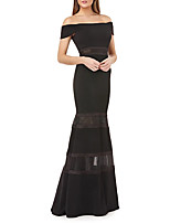 cheap -Mermaid / Trumpet Minimalist Sexy Wedding Guest Prom Dress Off Shoulder Sleeveless Floor Length Stretch Satin with Sleek 2021