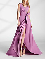 cheap -A-Line Elegant Sexy Wedding Guest Formal Evening Dress V Neck Sleeveless Floor Length Chiffon with Sash / Ribbon Split 2021