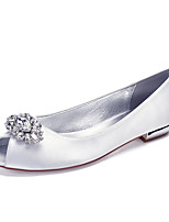 cheap -Women's Wedding Shoes Flat Heel Peep Toe Classic Sweet Wedding Party & Evening Satin Rhinestone Crystal Solid Colored White Black Purple