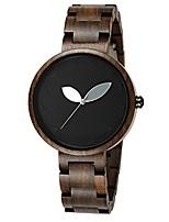 cheap -bewell women wooden watch bloom dial leaf pointer natural lightweight quartz wristwatch