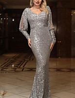 cheap -Mermaid / Trumpet Glittering Sexy Wedding Guest Formal Evening Dress V Neck Long Sleeve Sweep / Brush Train Sequined with Sequin 2020