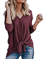 cheap -Women's S-3XL Ultra Soft Bat Wing Blouse Casual Button Down Thermal Tops Rustred S